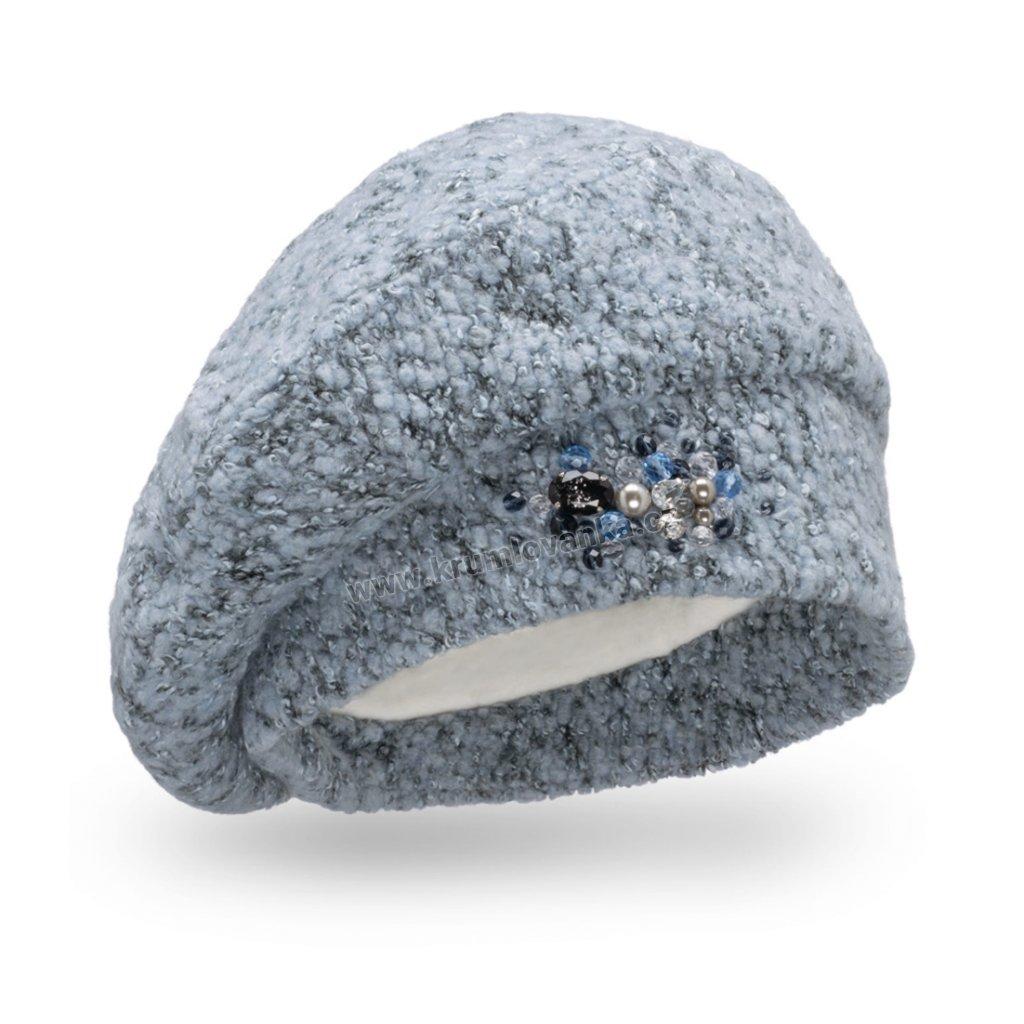 Dámská čepice s bižuterií - buklé světle modrá