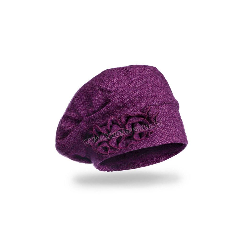 Dámská čepice se skládanou ozdobou fialová