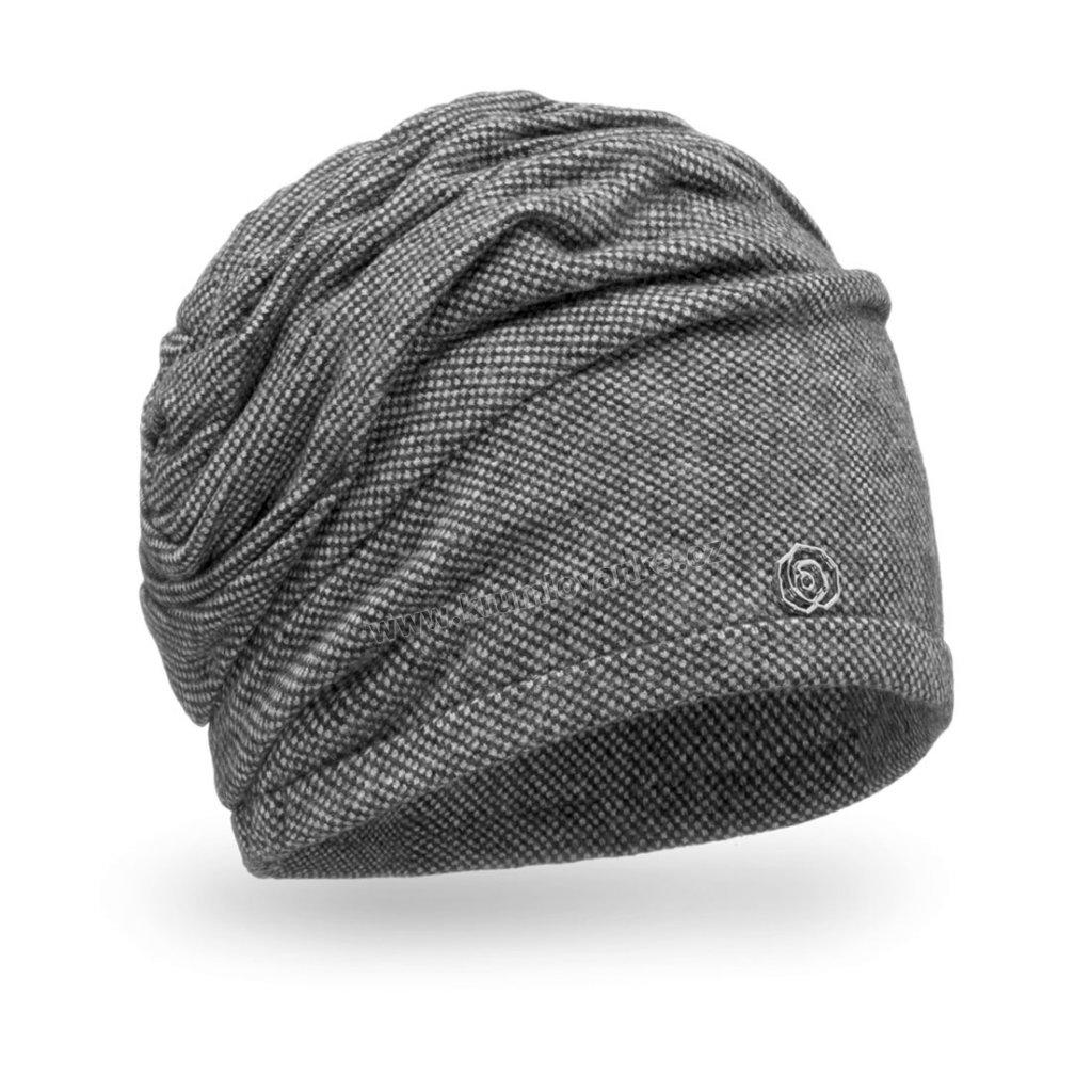 Dámská čepice s úvazem do spirály šedá
