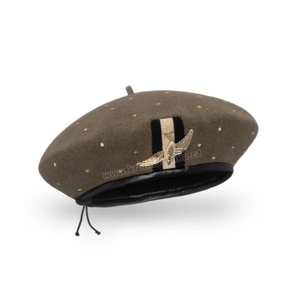 Dámský vlněný baret podšitý flísem se zlatým ptáčkem khaki