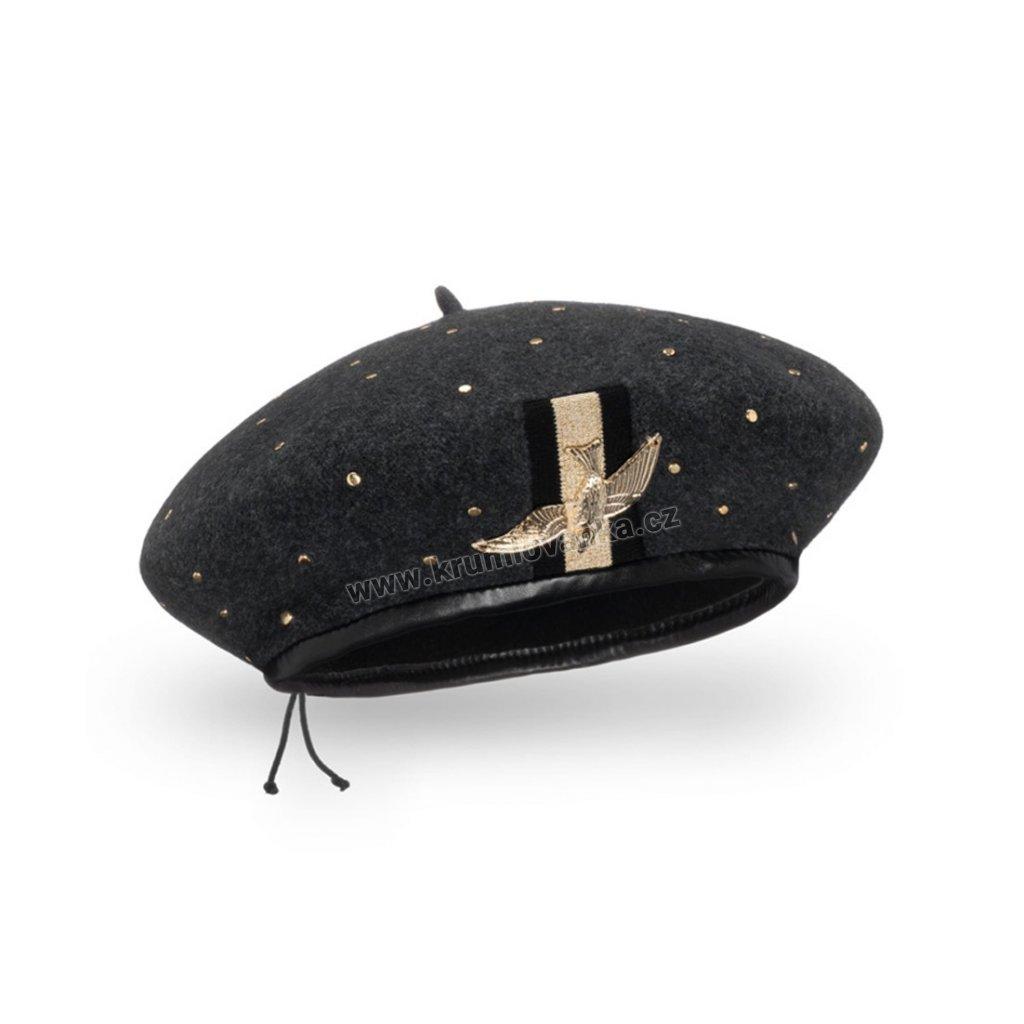 Dámský vlněný baret podšitý flísem se zlatým ptáčkem antracitový