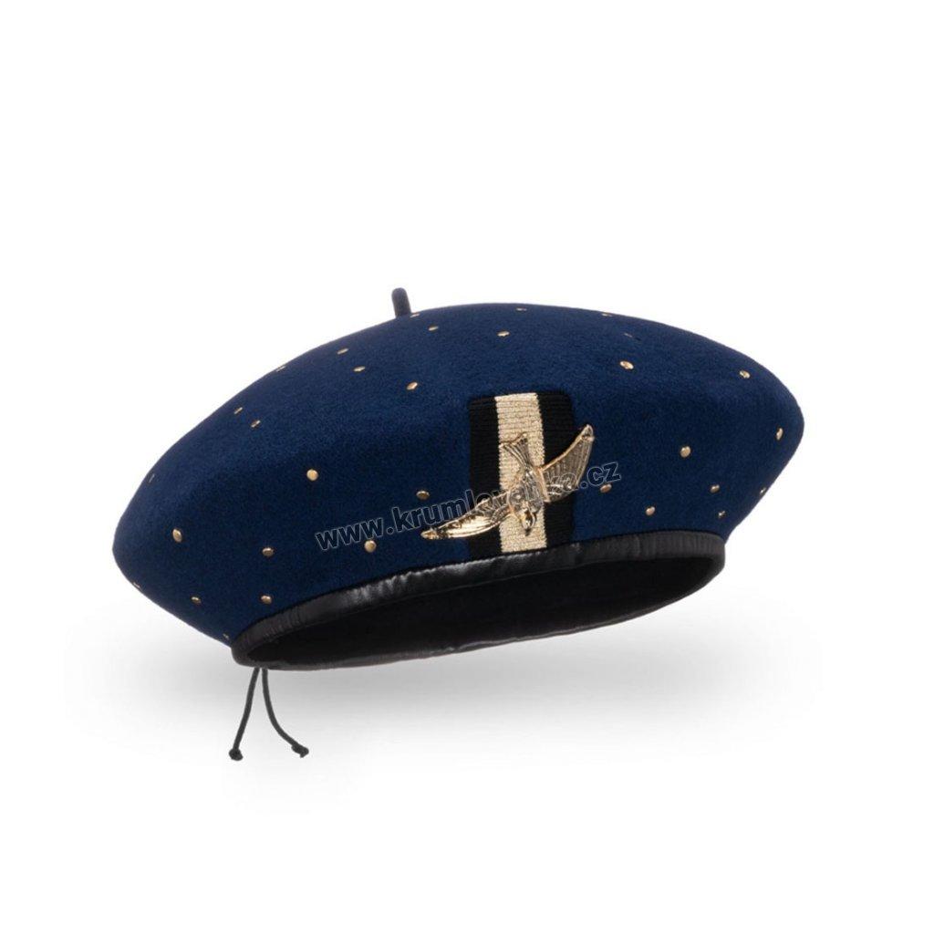 Dámský vlněný baret podšitý flísem se zlatým ptáčkem modrý