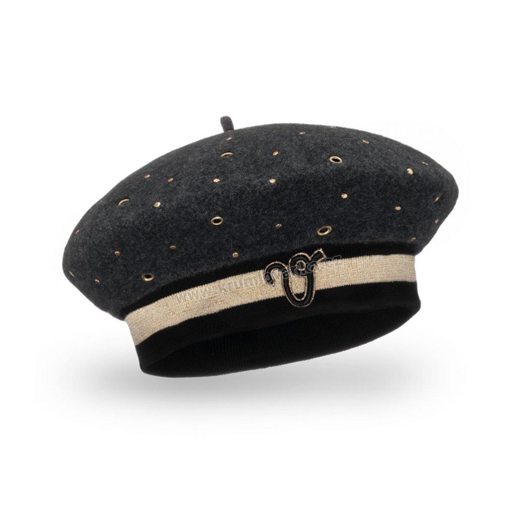 Dámský vlněný baret s eleastickým páskem se cvočky antracitový