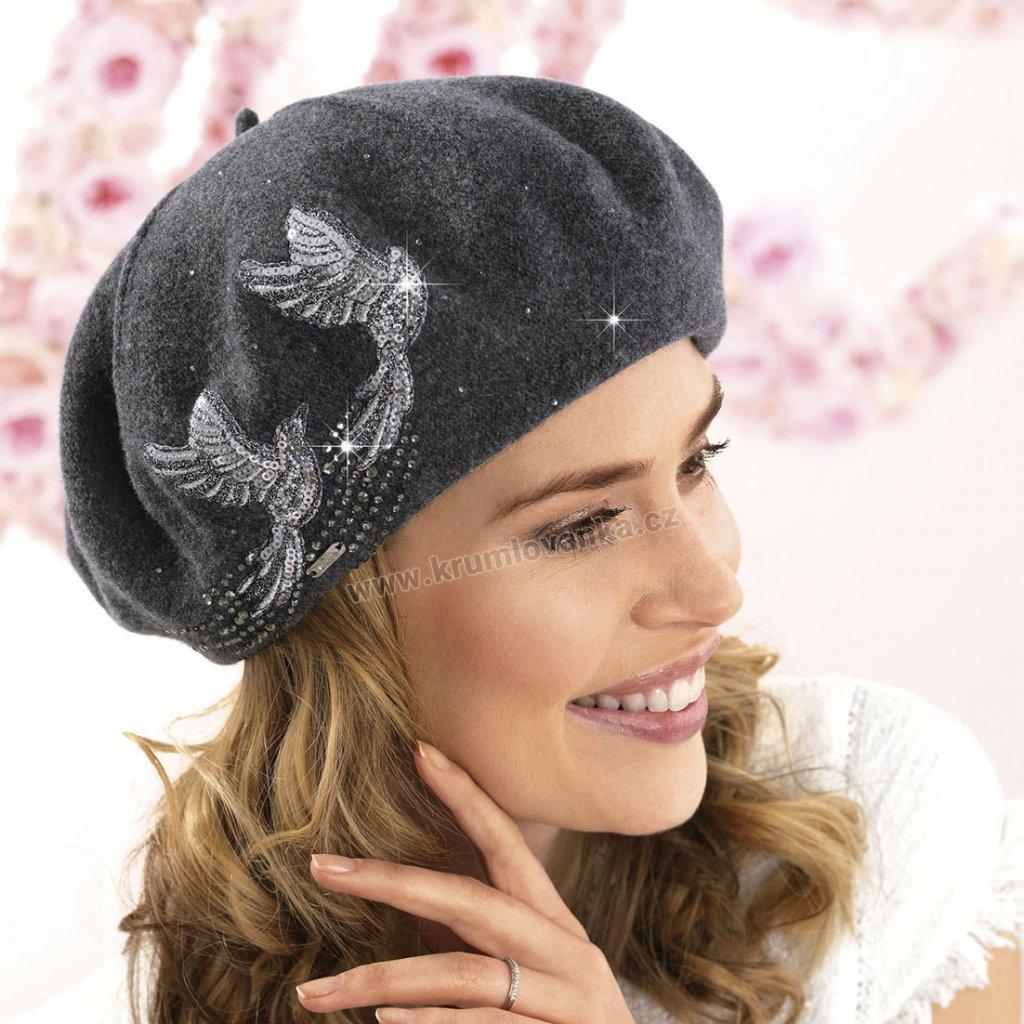 Dámský vlněný baret s výšivkou dvou ptáčků antracitový