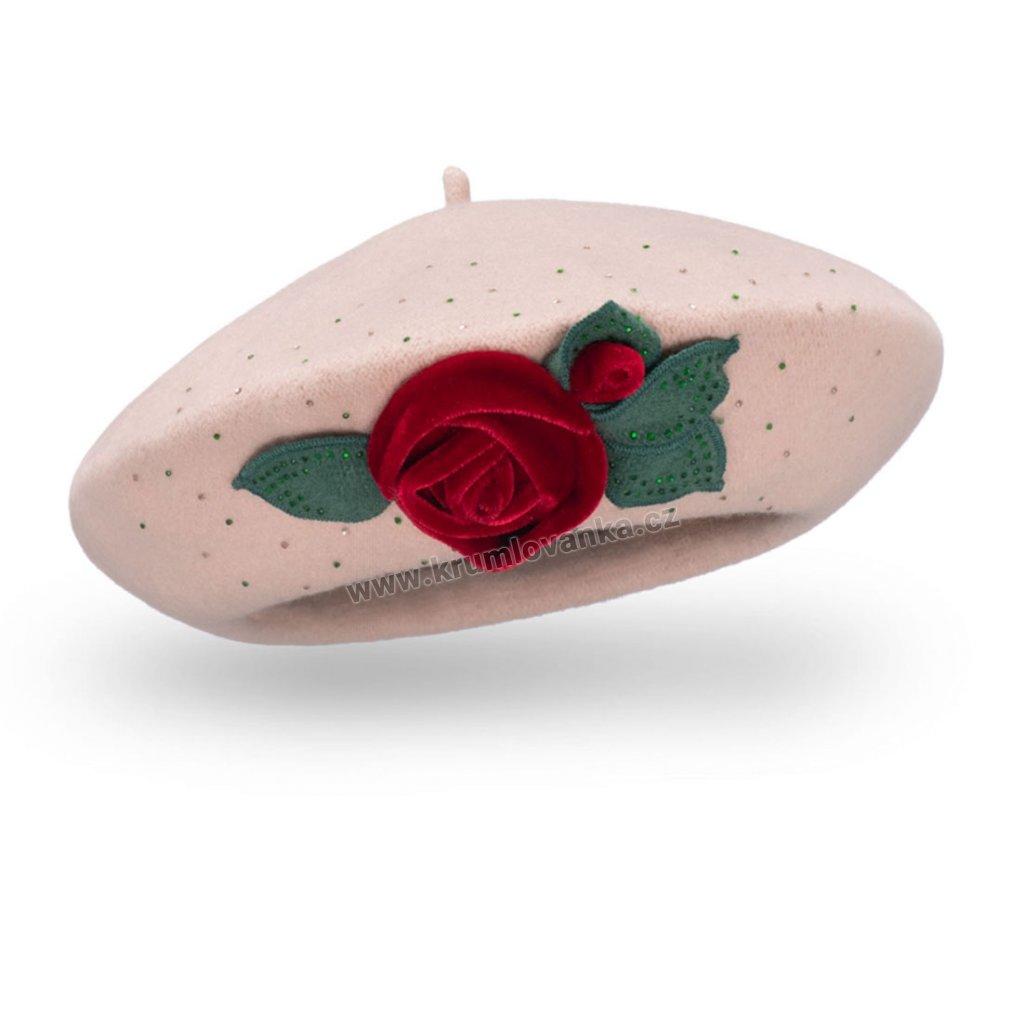 Dámský vlněný baret se sametovou růžičkou béžový