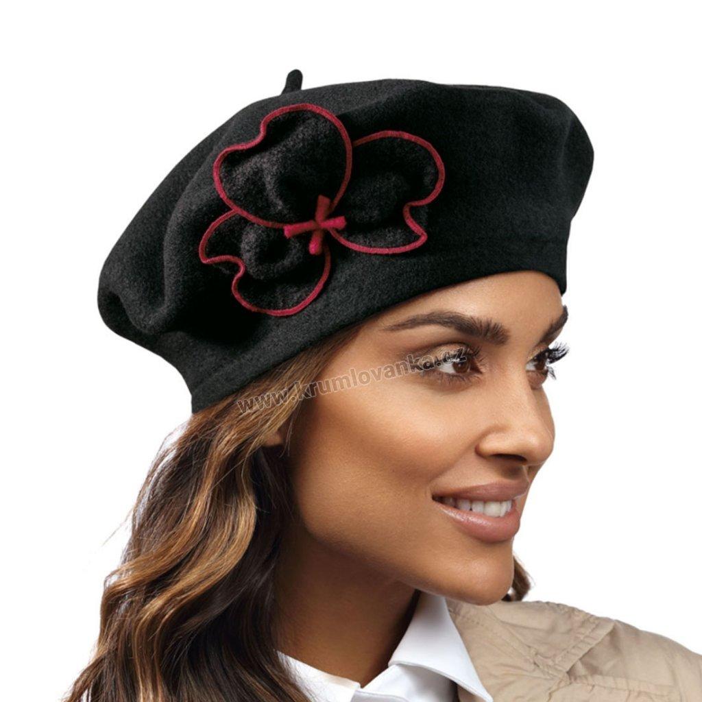 Dámský vlněný baret černý s červeně obšívaným květem