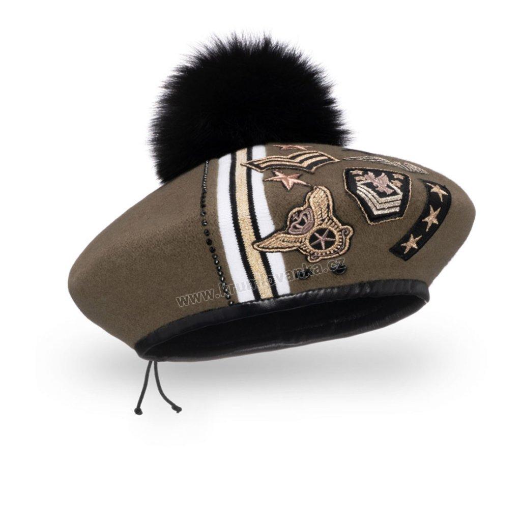 Dámský vlněný baret podšitý flísem s koženkovým  páskem zdobením a bambulí khaki
