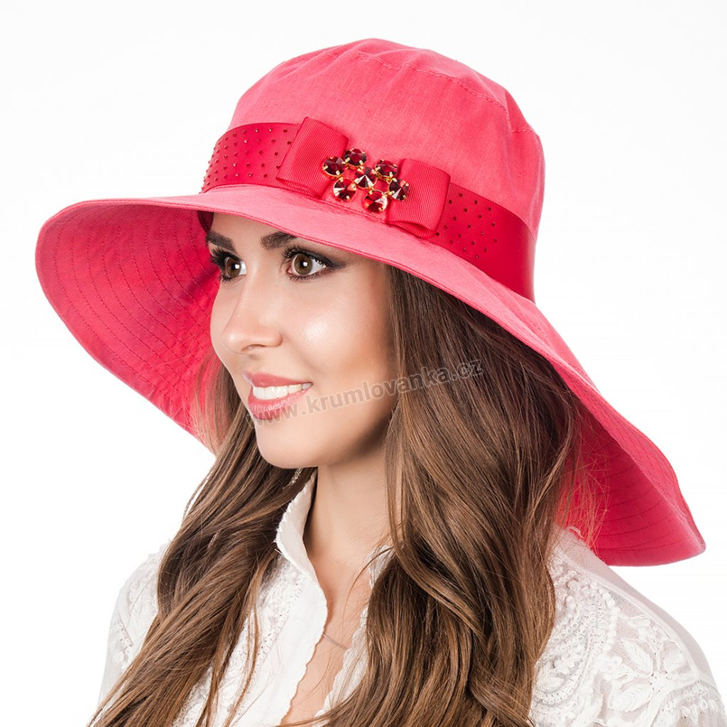 Dámský letní klobouk Krumlovanka 428863 červený