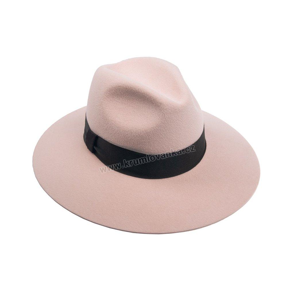 Plstěný klobouk TONAK Fedora Romance 53596/19 růžový Q 1257