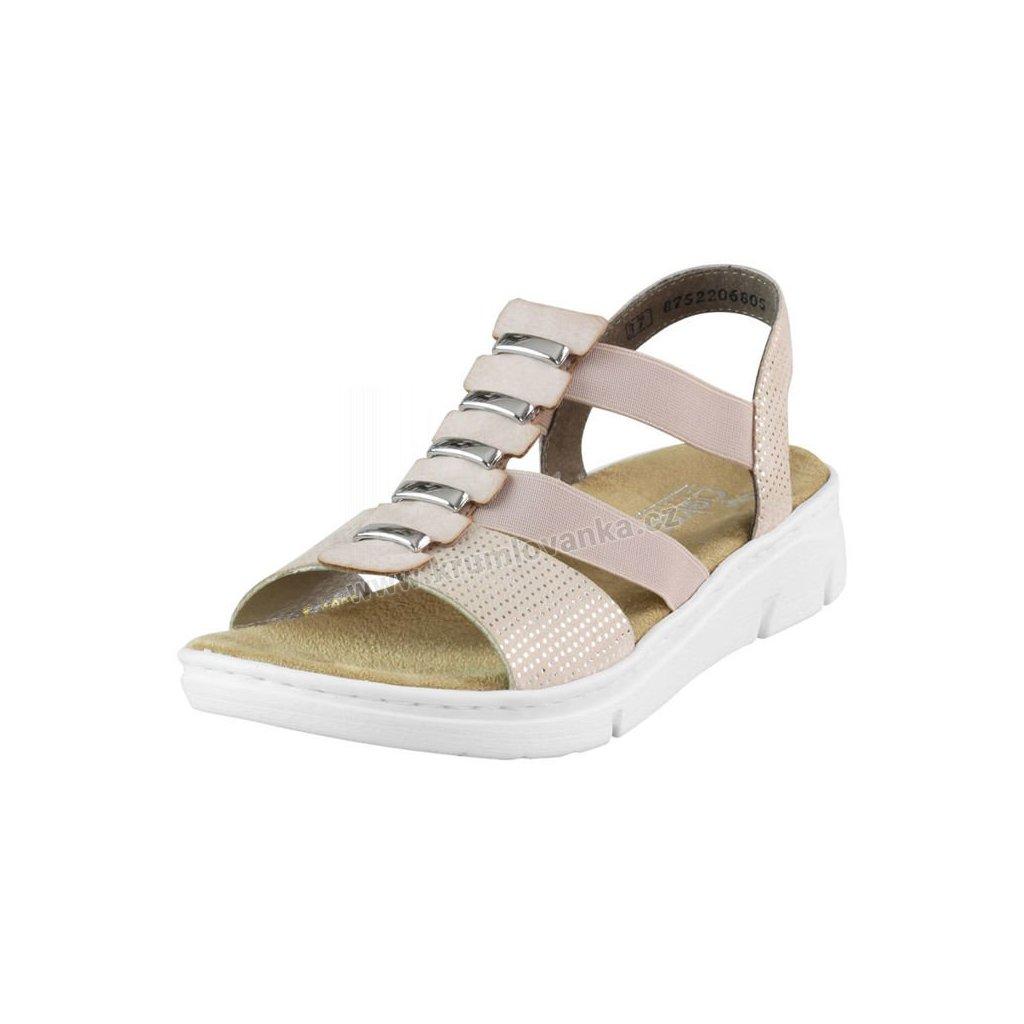 Sandálky RIEKER 65392-62 Růžové
