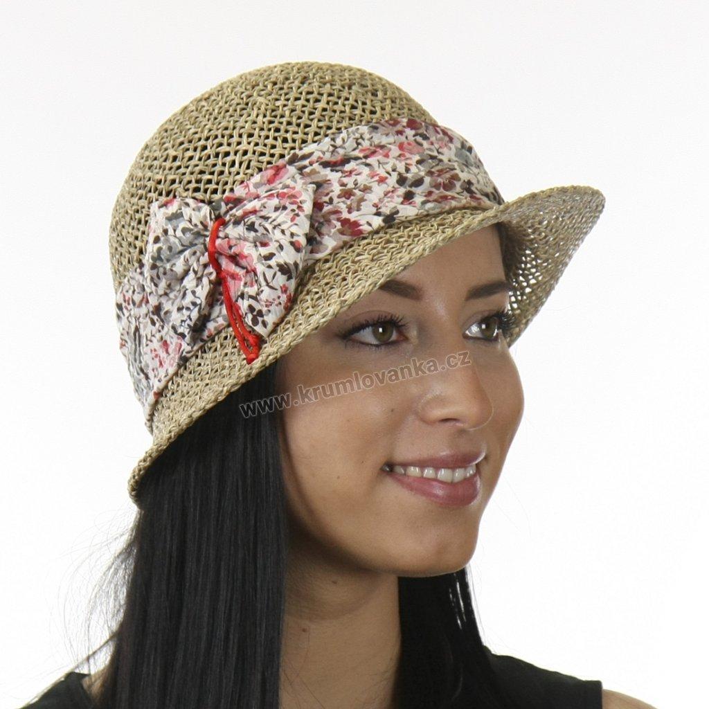 Dámský letní klobouk z mořské trávy  209430 stuha s červenými květy