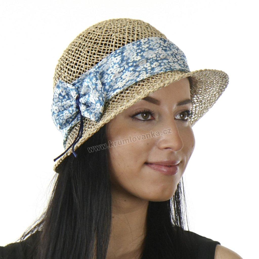 Dámský letní klobouk z mořské trávy  295253 stuha s pomněnkovými květy