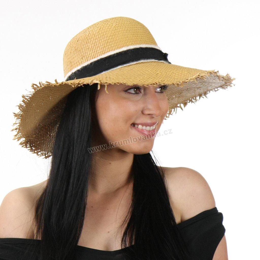 Dámský letní klobouk se sthou a střapatým okrajem KRUMLOVANKA 427891 béžový