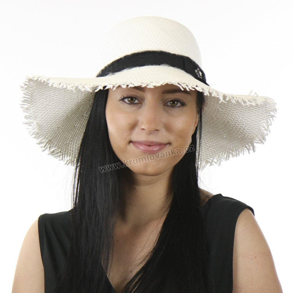 Dámský letní klobouk se sthou a střapatým okrajem KRUMLOVANKA 427958 bílý