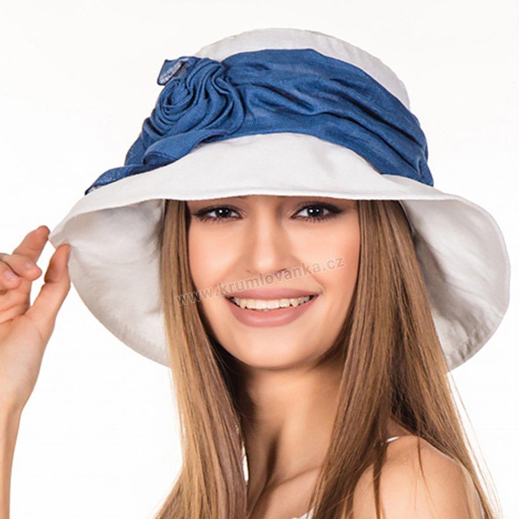 Dámský letní klobouk Krumlovanka 403664 bílý s modrou stuhou