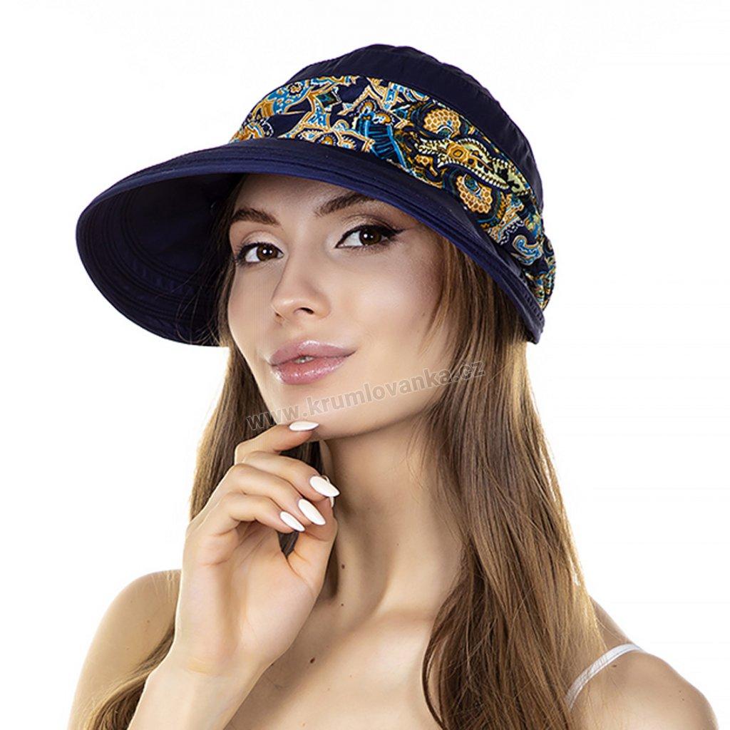 Dámská letní čepice s kšiltem a stuhou Krumlovanka 413021 tmavě modrá