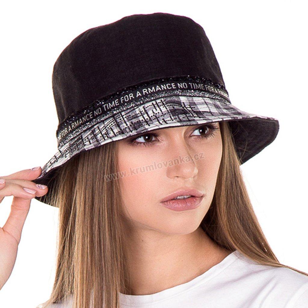 Dámský letní klobouk Krumlovanka 435355 černo bílý