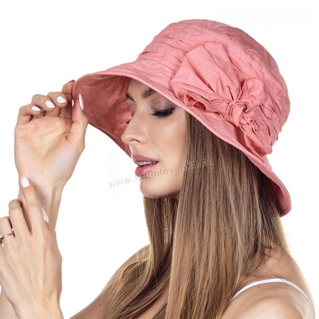 Dámský letní klobouk Krumlovanka 441391 korálová barva