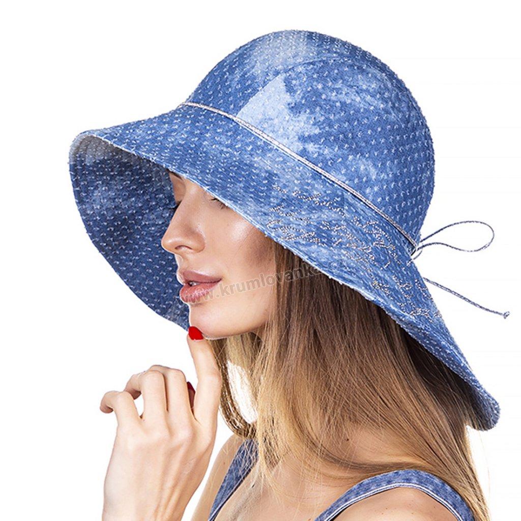 Dámský letní klobouk Krumlovanka modrý denim 440945