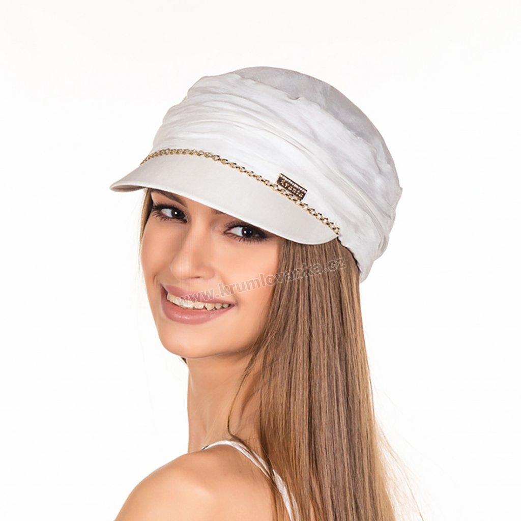 Letní dámská čepice s kšiltem Krumlovanka 428822 bílá02