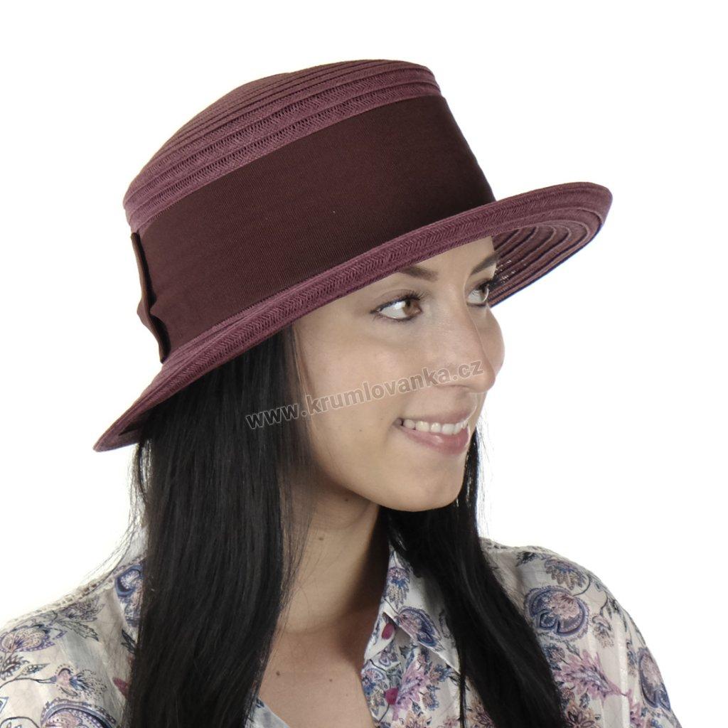 Letní dámský klobouk 18158 vínový