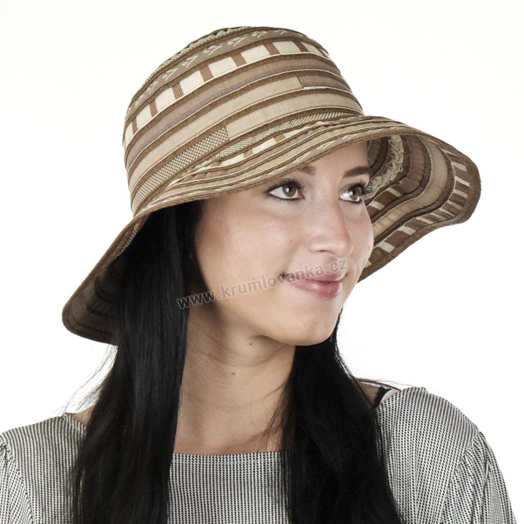 Letní dámský klobouk Patchwork 77001 hnědý