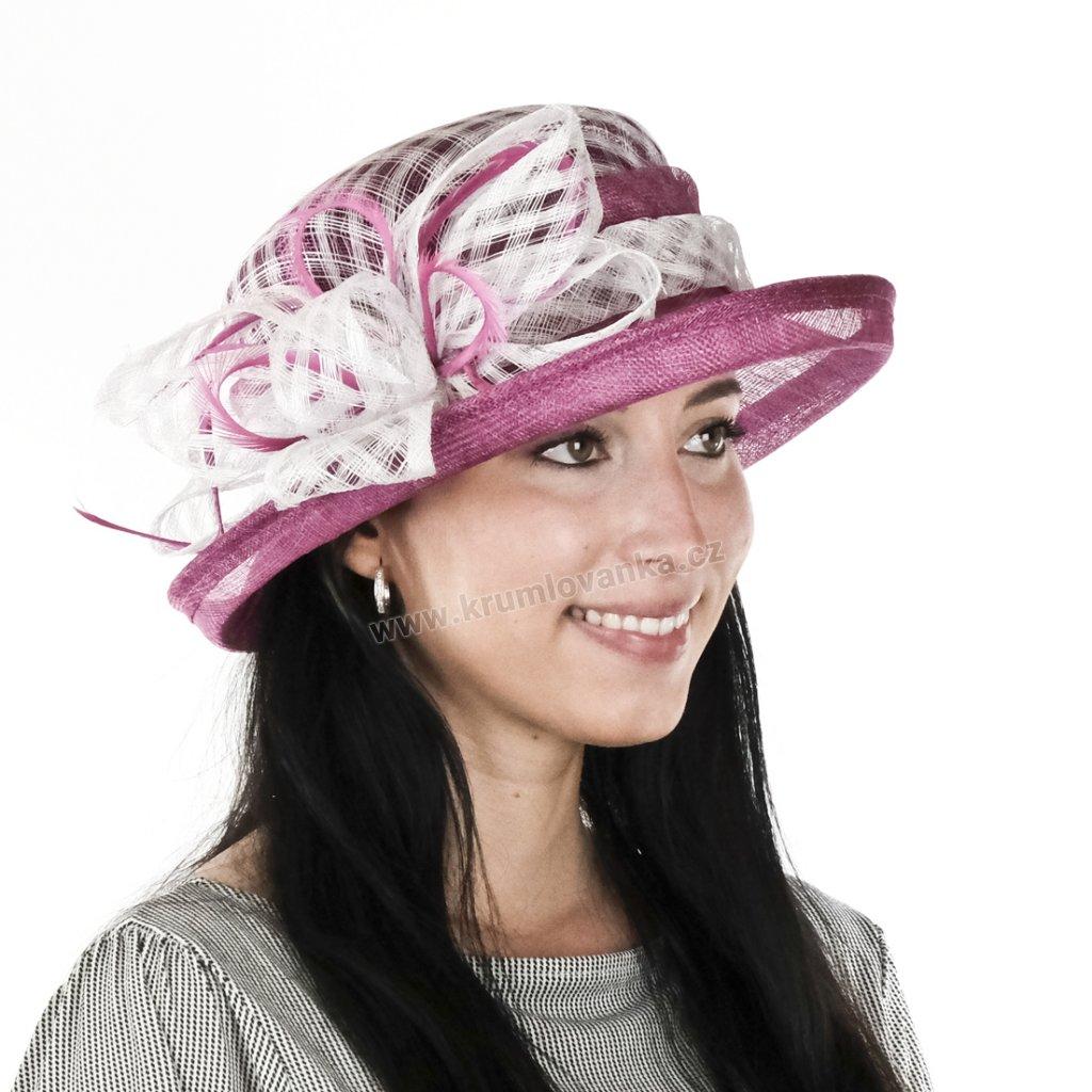 Letní sysalový klobouk 15049 v barvě bílorůžové