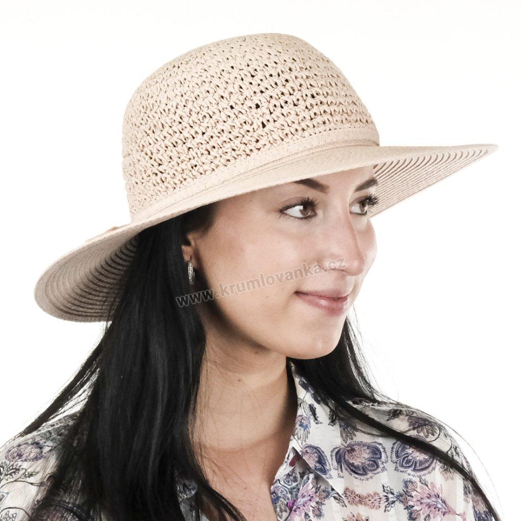 Dámský letní klobouk Big Brim 17022 světle starorůžový