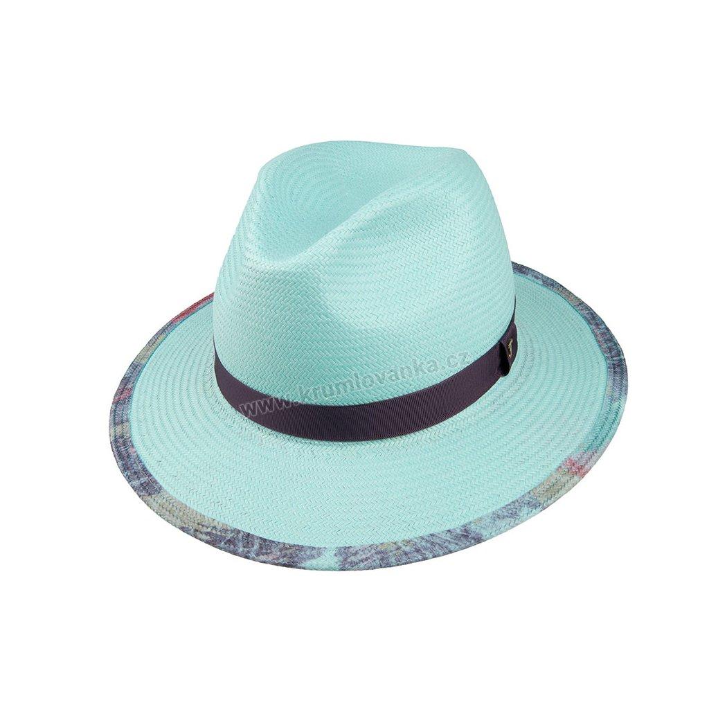 35023 LTBLUE 1 slameny klobouk tyrkysovy