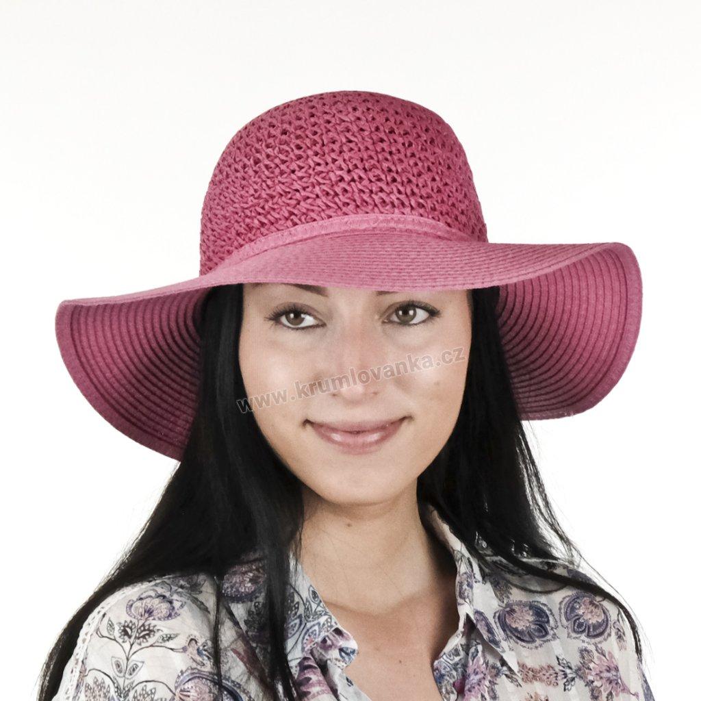 Dámský letní klobouk Big Brim 17022 růžový