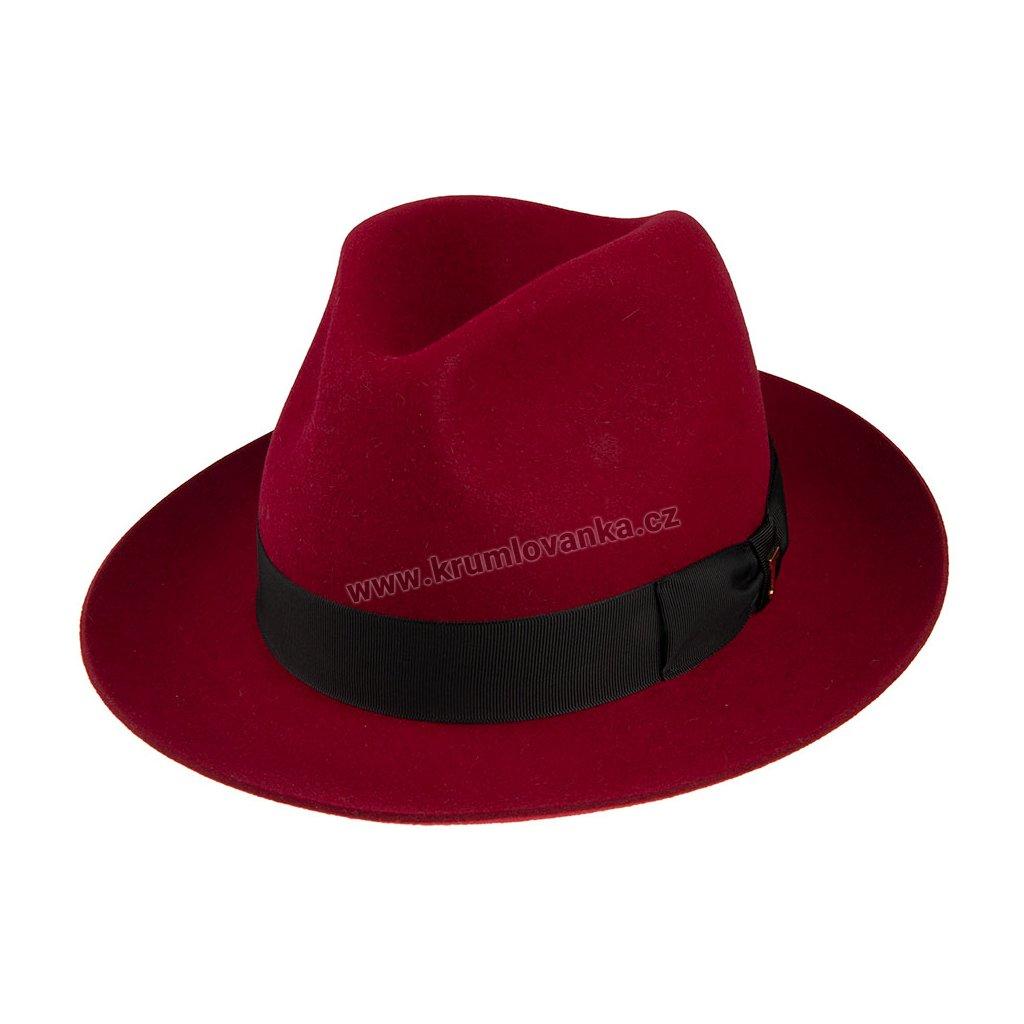 Plstěný klobouk TONAK Fedora Stretti 12515/17/Q1053 vínový
