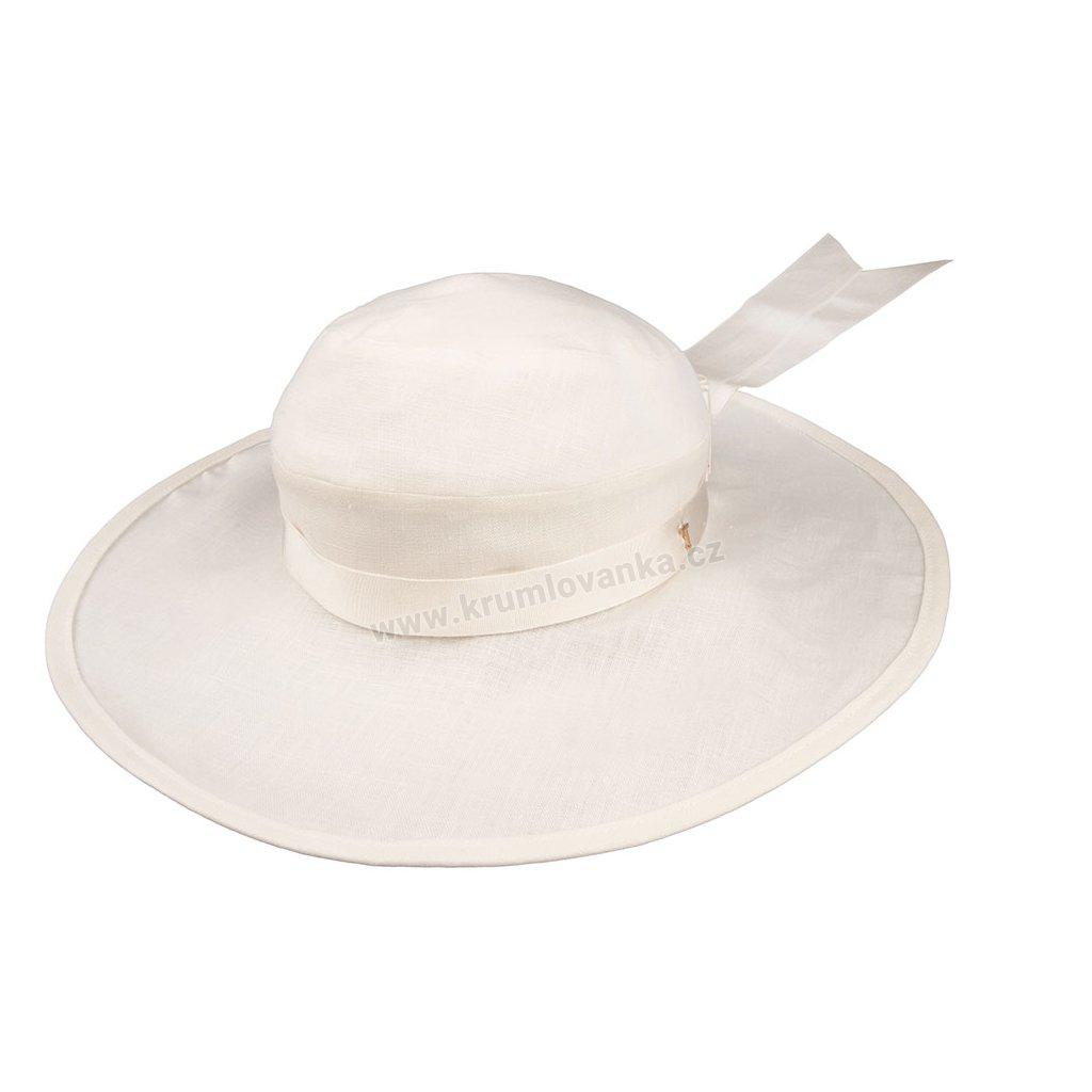 Lněný klobouk TONAK Brim Hat Base Notte 021/19 slonová kost
