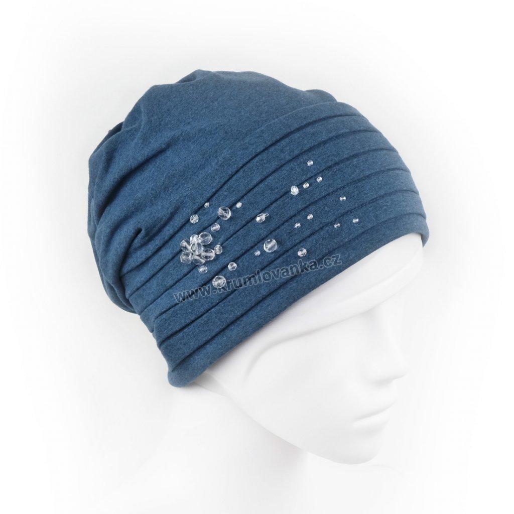 Bavlněná čepice s úvazem do spirály zdobená skleněnou bižuterií modrá