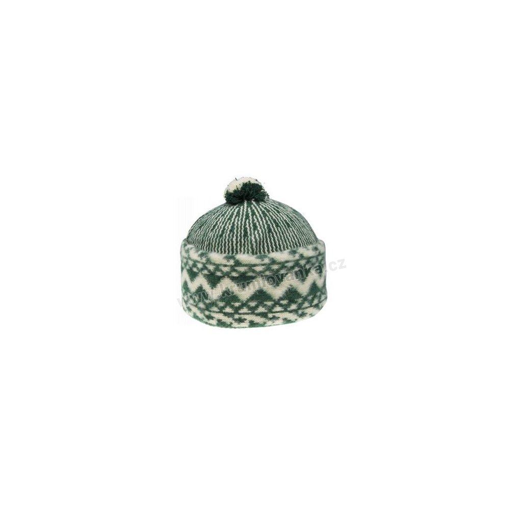 Vlněná čepice TONAK - zmijovka TRITON zelená-smetanová 011_000001