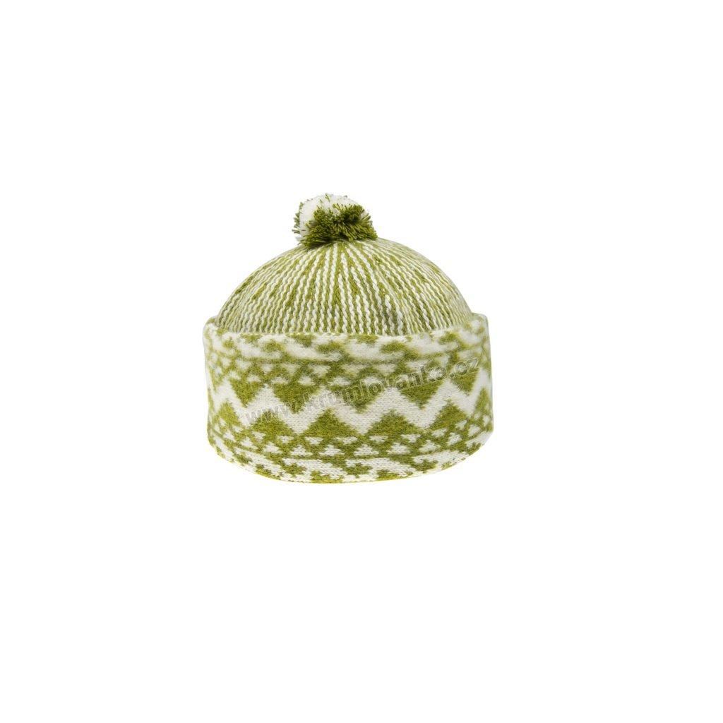 Vlněná čepice TONAK - zmijovka TRITON žlutozelená-smetanová 011_000015