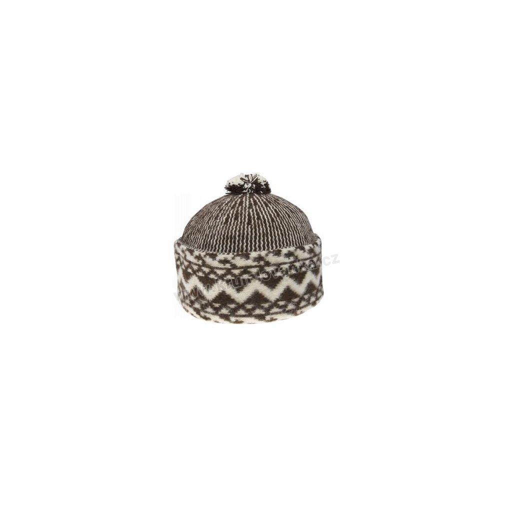 Vlněná čepice TONAK - zmijovka TRITON tmavě hnědá-smetanová 011_000004