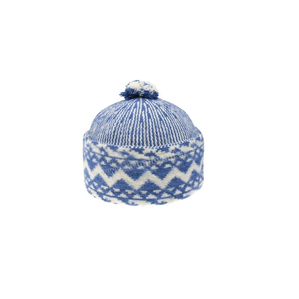Vlněná čepice TONAK - zmijovka TRITON světle modrá-smetanová 011_000013