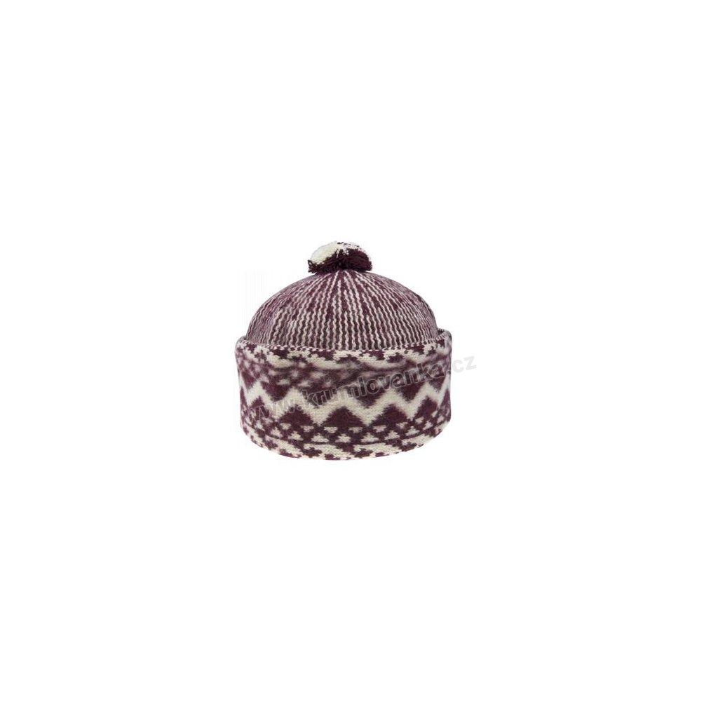 Vlněná čepice TONAK - zmijovka TRITON bordó-smetanová 011_000002