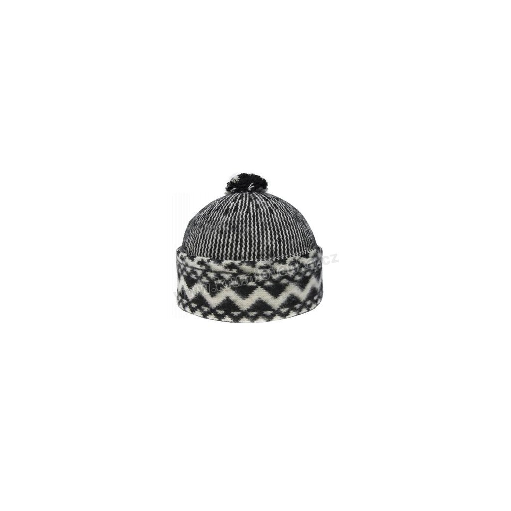 Vlněná čepice TONAK - zmijovka TRITON černá-smetanová 011_000014