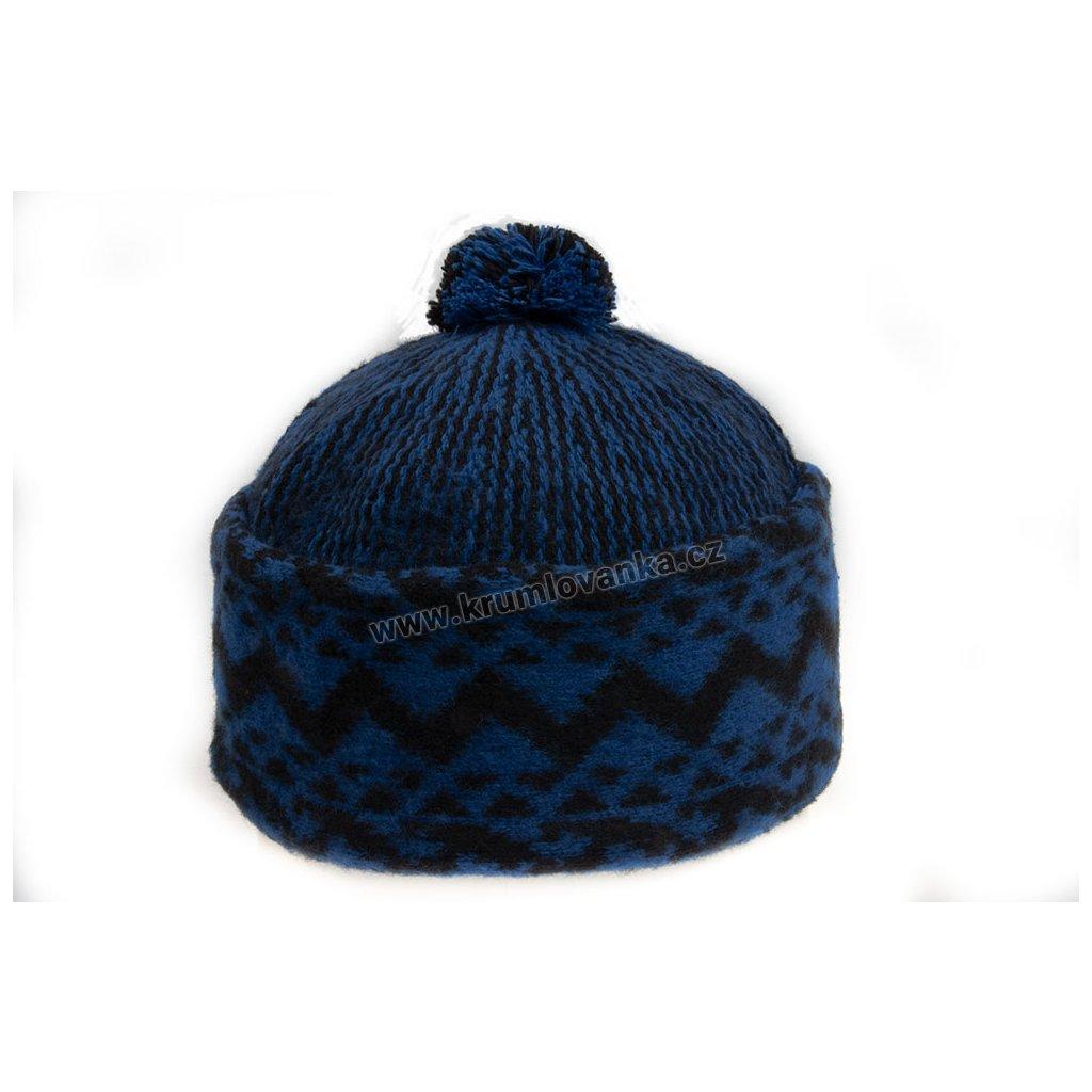 Vlněná čepice TONAK - zmijovka TRITON tmavě modrá-černá 011_014007