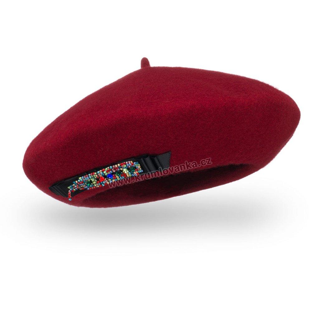 Vínový baret s mašlí a barevnou bižuterií W-0001/144