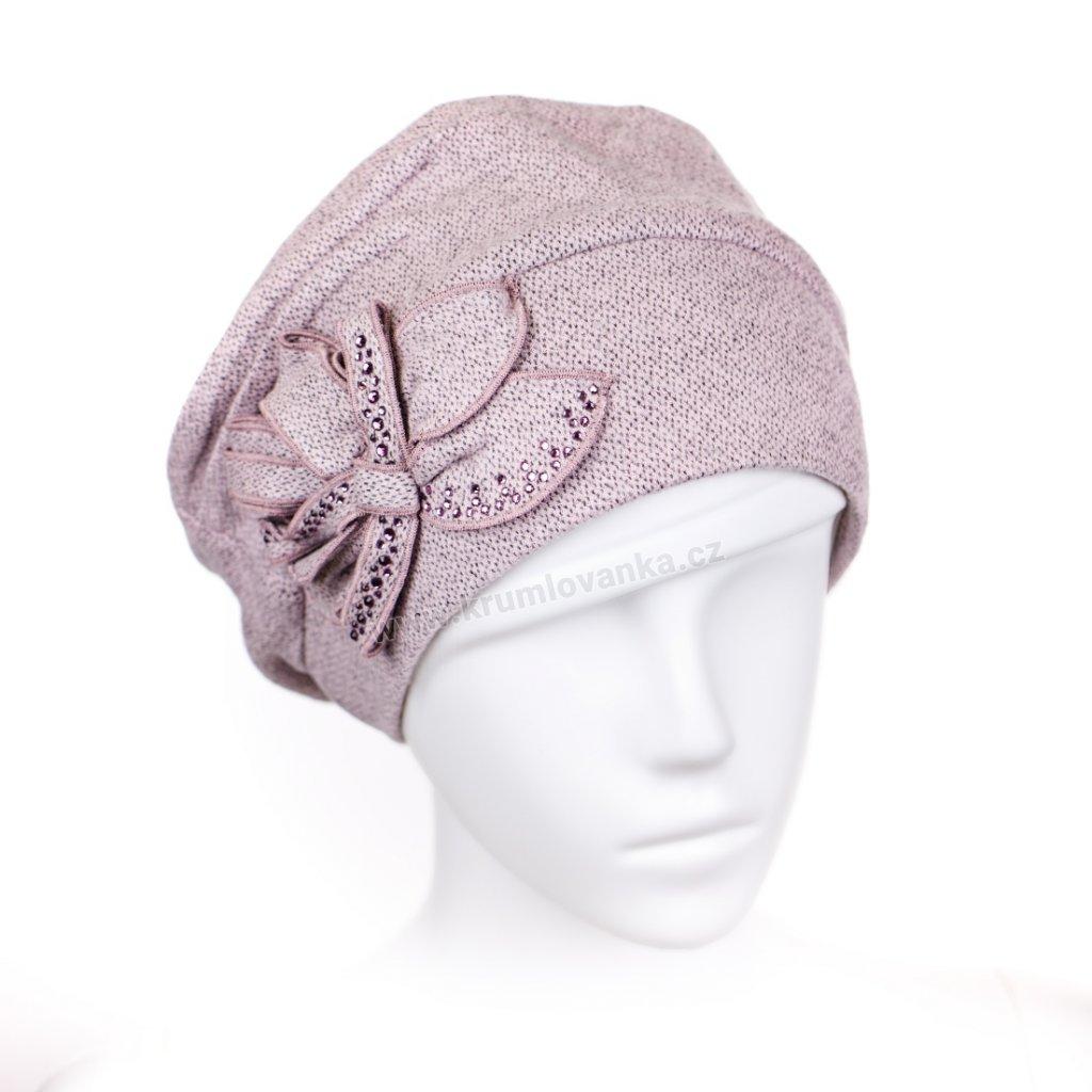 Růžová čepice s mašličkou a bižuterií podšitá flísem W-0002/Z1N