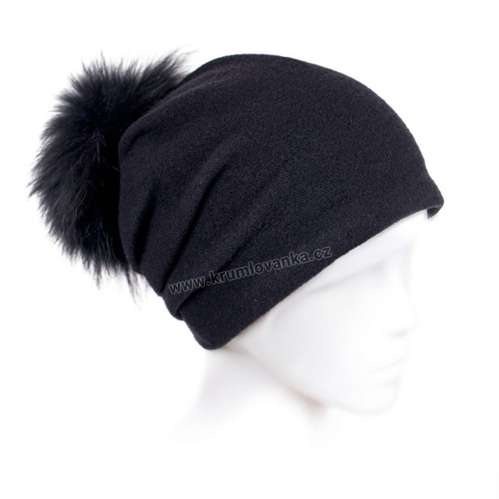 Dámská čepice s bambulí W-0004/018 černá