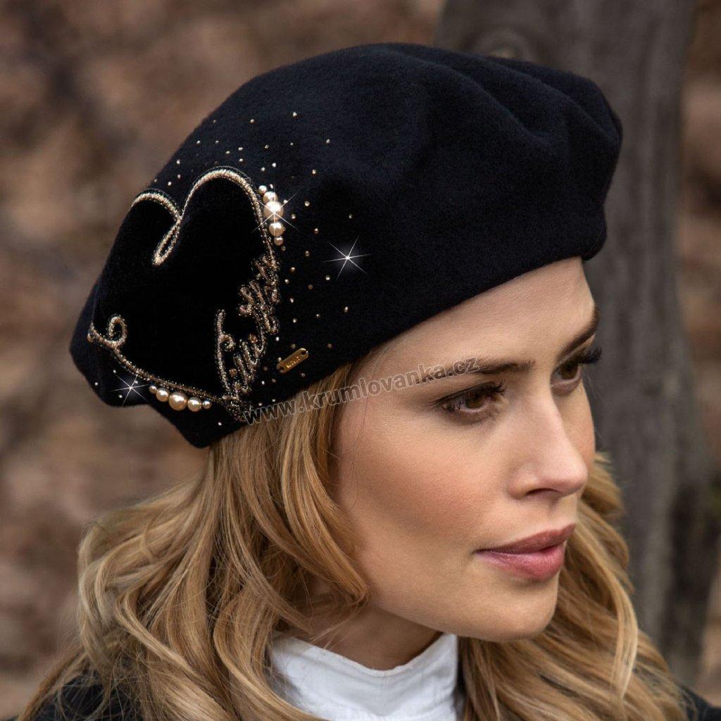 Dámský vlněný baret se zlatým nápisem a perličkami W-0014/018 černý