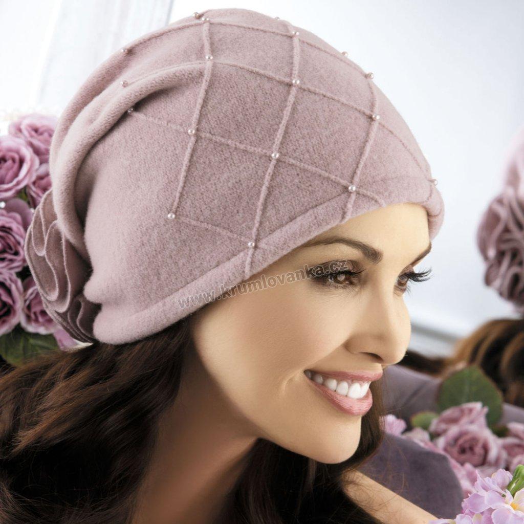 Dámská zimní čepice  W-0021/540 růžová