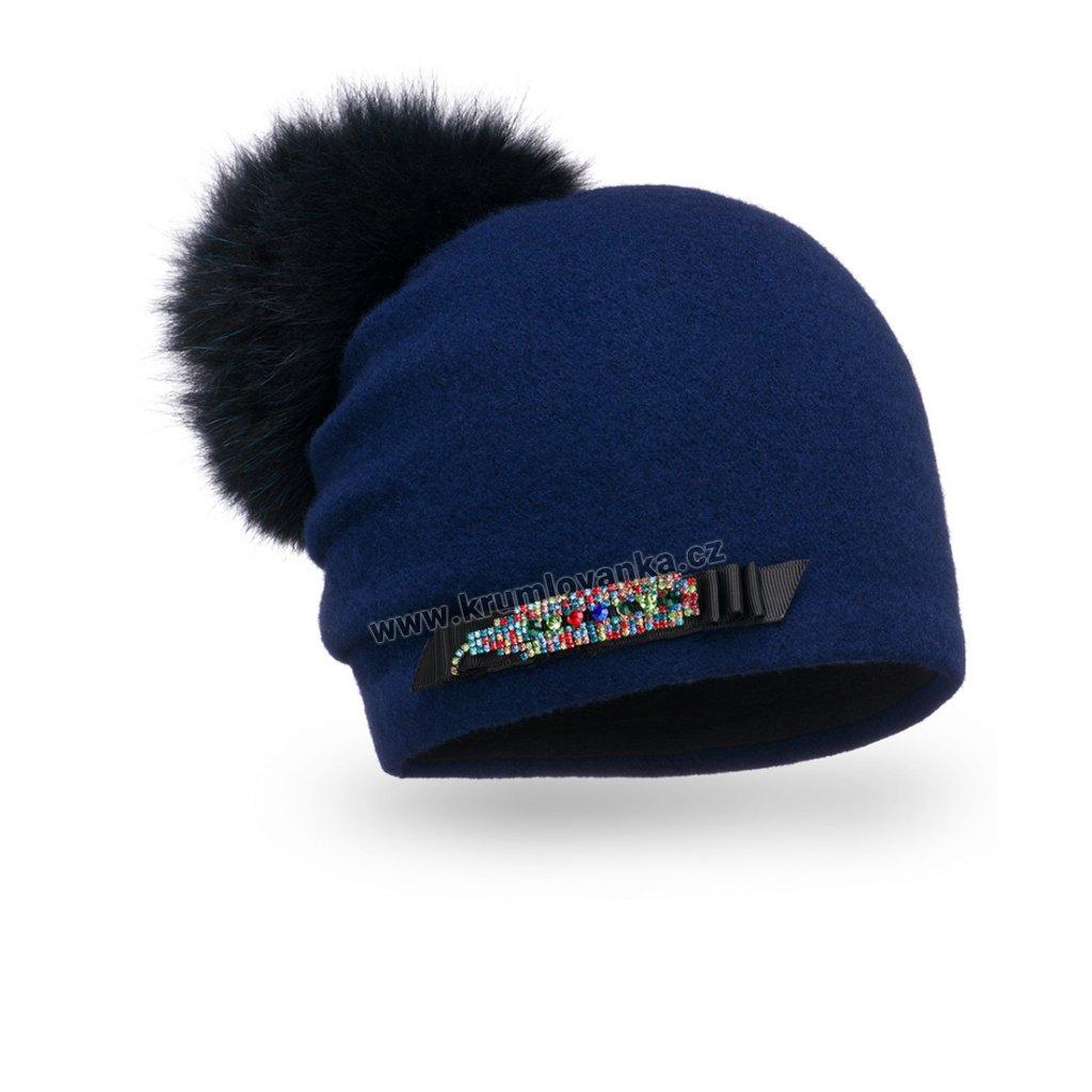 Dámská zimní čepice W-0038/161 modrá