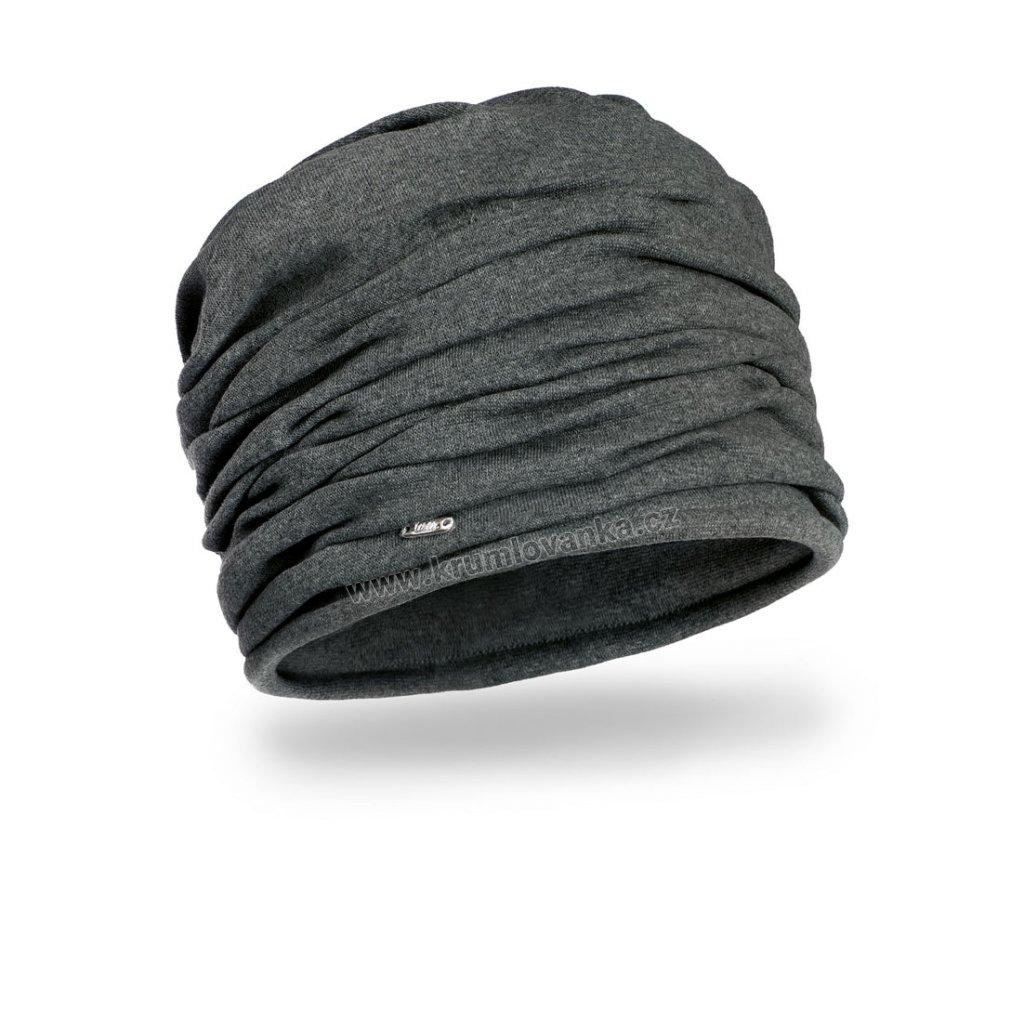 Dámská bavlněná čepice W-0044/C005 tmavě šedá