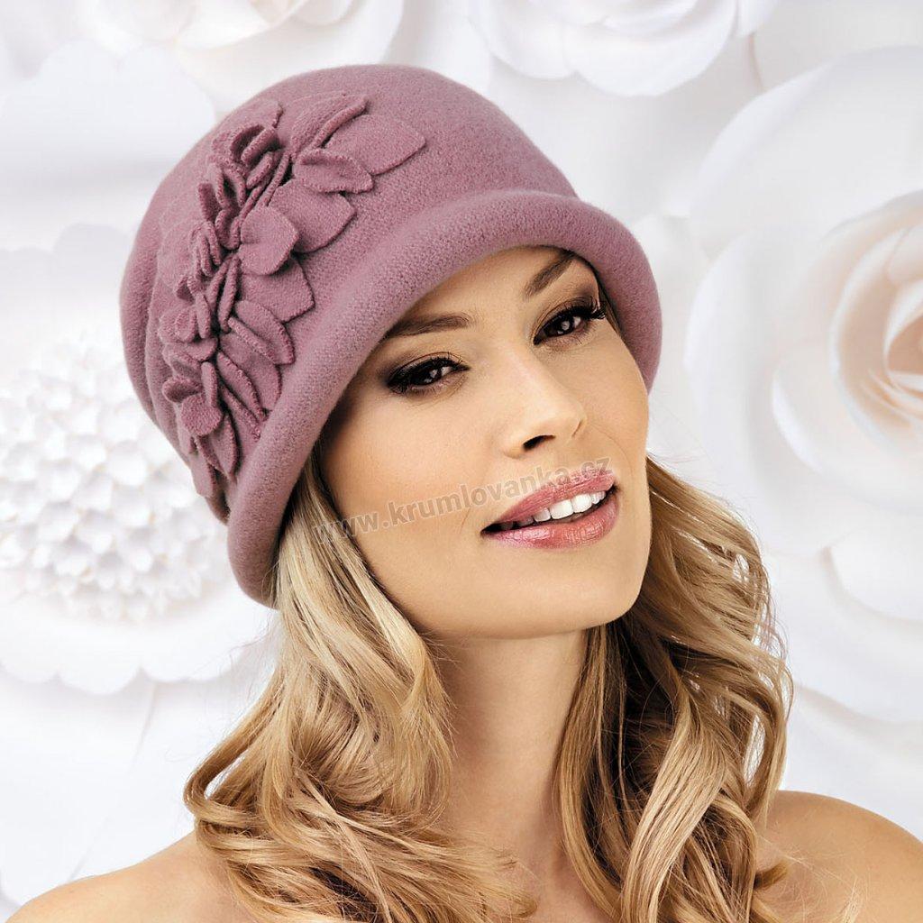 Dámský zimní klobouček W-0055/628 starorůžový