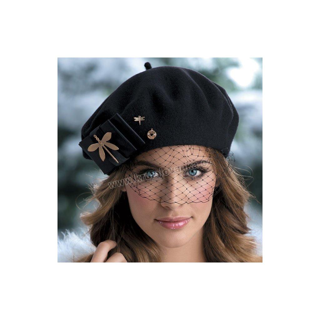 Dámský vlněný baret s vážkou a síťkou W-0061/018 černý