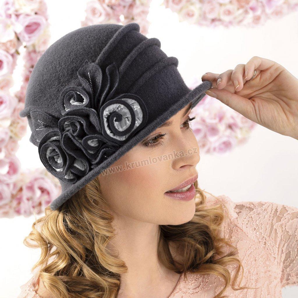 Dámský vlněný klobouk W-0073/164 šedý